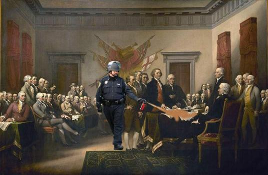 Spraying the Declaration of Independence