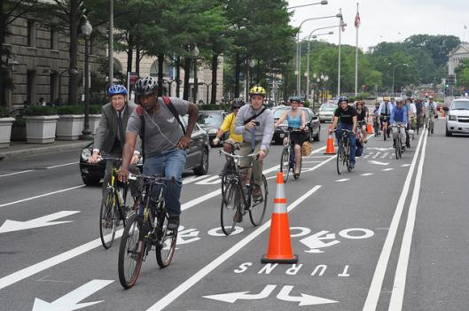 Cyclists say the common practice of vehicles making U-turns through the bike lanes in the middle of Pennsylvania Ave NW is a big safety concern.
