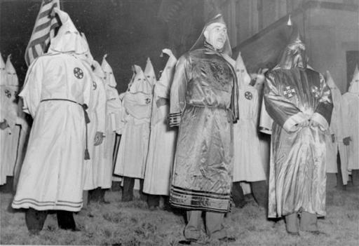 Robes like those worn by the Ku Klux Klan members in this photo -- which dates from 1948 -- were donated to the Smithsonian's planned National Museum of African American History and Culture this week.
