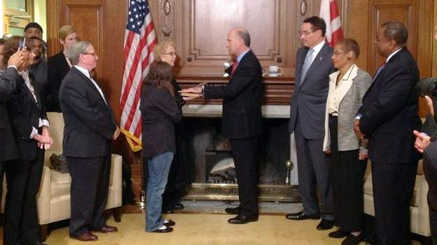 A photo sent out from Mayor Vincent Gray's Twitter account shows Phil Mendelson being sworn in as the new D.C. Council Chairman.
