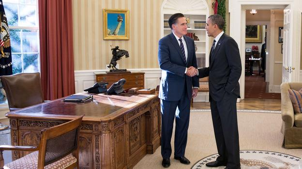 President Obama and former Republican presidential nominee Mitt Romney shake hands in the Oval Office after their lunch Thursday at the White House.