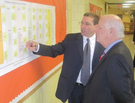 Maryland Senator Ben Cardin tours Montgomery County's Pre-Release Center in Rockville.