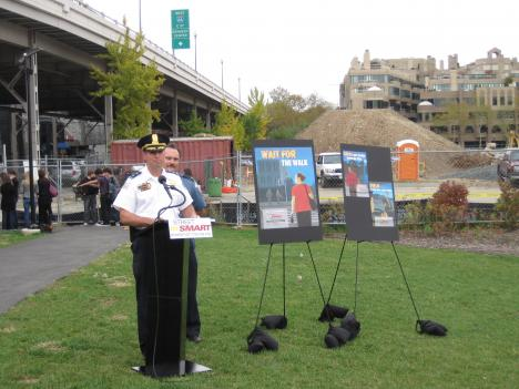 "Assistant Police Chief Patrick Burke announces the ""Street Smart"" Campaign at Georgetown's Waterfront Park."
