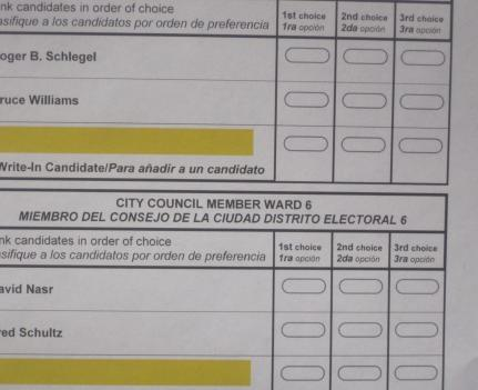 A sample ballot used in the Takoma Park election.