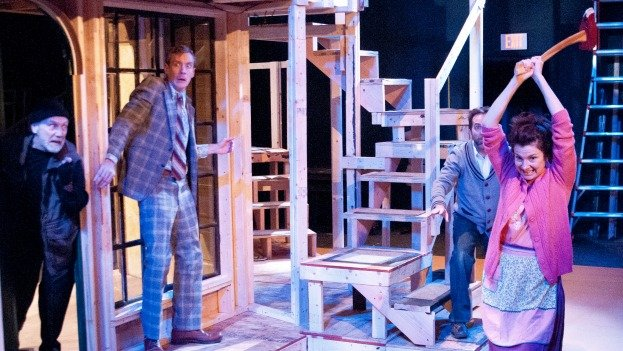 (From left to right): Mario Baldesarri, Dylan Myers, Matthew Pauli and Kathleen Akerly act out a scene in Noises Off at 1st Stage.