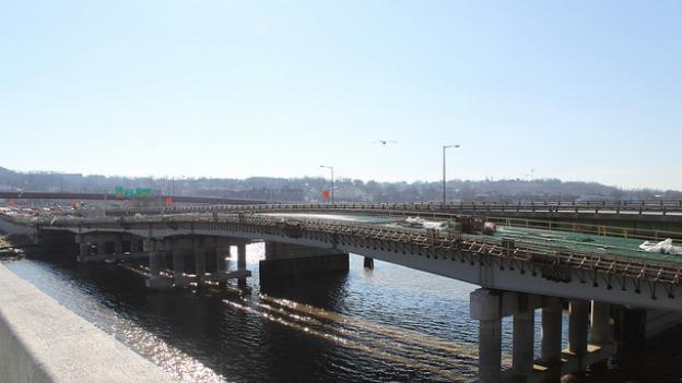 The new span of the 11th Street Bridge as it was under construction.