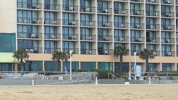 A hotel facing the ocean in Virginia Beach.