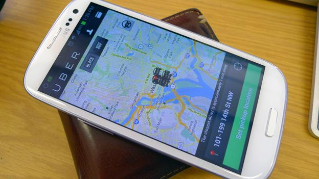 Uber puts customers in contact with a fleet of towncars using a smartphone application of iOS and Android phones.