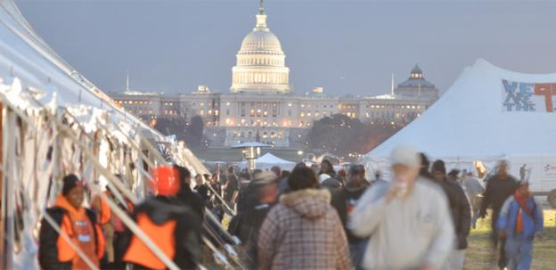 "Participants have set up tents at the ""Take Back the Capitol"" protest happening on the National Mall Dec. 5-9."