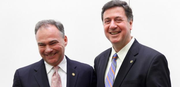 Former Virginia Gov. Tim Kaine, left, and Former Senator George Allen, right, greet each other after the AP Day at the Capitol Senatorial debate at the Capitol iin Richmond, Va., , Dec.. 7, 2011,