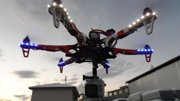 Students use modified DJI Flame Wheel quadcopters with attached cameras, like the one pictured here.