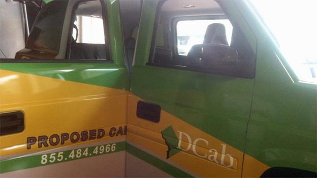 Just one of the four proposed color schemes for D.C. taxis.