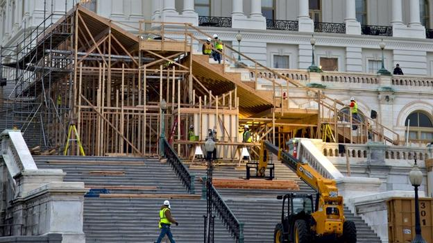 Construction is under way on the viewing stand in front of the U.S. Capitol for President Obama's Inauguration Day ceremonies on Jan. 21.