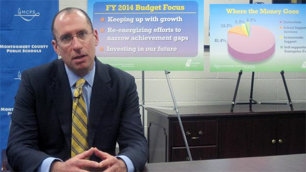 The plan for fiscal 2014 is laid out for reporters by Montgomery County Schools Superintendent Joshua Starr.