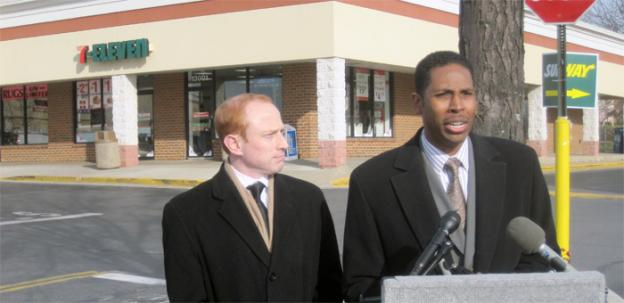 Delegate Jeff Waldstreicher, left, and Montgomery County councilman Craig Rice speaking in front of the Germantown 7-11 that was victim of a flash mob robbery in November.