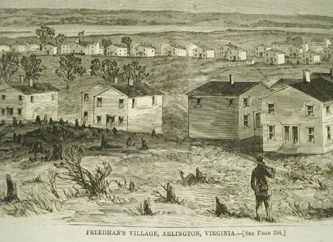 "Close-up from ""Freedman's Village, Arlington, Virginia"" print that appeared in Harper's Weekly, May 7, 1864."