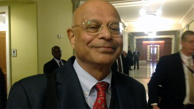 Natwar Gandhi outside a D.C. Council hearing in December.