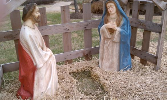 Despite being filled with 80 pounds of concrete, the Baby Jesus was still stolen from a Fredericksburg, Va. nativity scene.