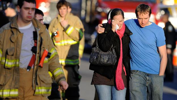 Victims family leave a firehouse staging area following a shooting at the Sandy Hook Elementary School in Newtown, Conn., about 60 miles (96 kilometers) northeast of New York City, Friday, Dec. 14, 2012. An official with knowledge of Friday's shooting said 27 people were dead, including 18 children.