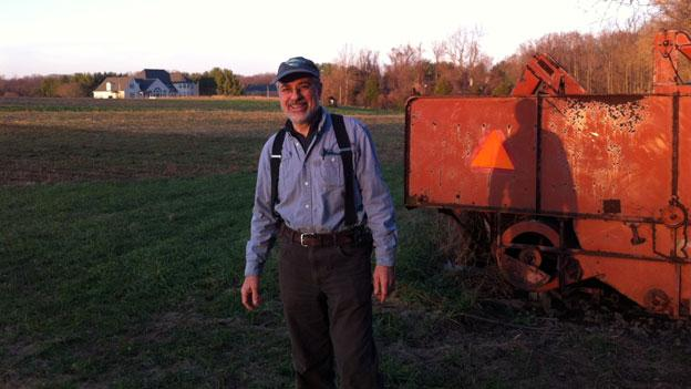 Nick Maravell on his farm in Potomac, Md. He's settled with Montgomery County Public Schools to be able to farm at least one more season on the land.