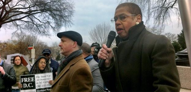 D.C. Congresswoman Eleanor Holmes Norton joined activists protesting against the federal budget deal Friday.