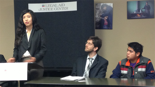 College students speak at the Legal Aid Justice Center.