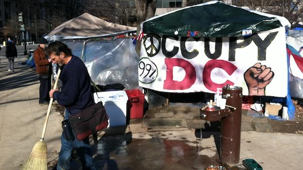 Many Occupy DC protestors have headed home for the holidays, but a good number still remain.