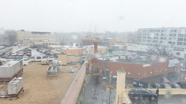 Fat slow flakes were seen from the WAMU building in Tenleytown, D.C., early Saturday, but no accumulation is expected.