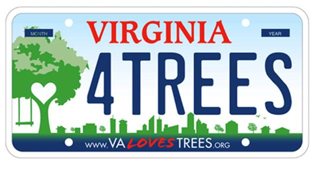 "A sample of the new ""Virginia Loves Trees"" license plate that could be available soon in the state."