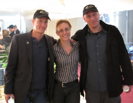Actor Woody Harrelson, reporter Stephanie Kaye and director Oren Moverman.