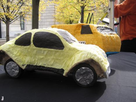 Car-shaped piñatas served as stress-relievers at Tuesday's Great Commuter Stress Out. The event was meant to help spread awareness about commuters' teleworking options.