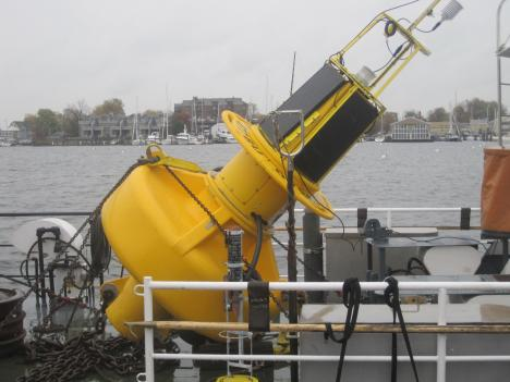 "This ""Smart Buoy"" will be placed at the mouth of the Severn River near Annapolis.  It is the seventh placed throughout the Chesapeake Bay."