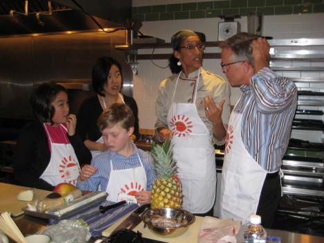 Team A plans its three-course meal (from left: Star Rhee, D.C. Public Schools Chancellor Michelle Rhee, Drew Melman-Rogers, Season 5 Top Chef finalist/D.C. caterer Carla Hall, Brian J. Glade of the Society for Human Resource Management).