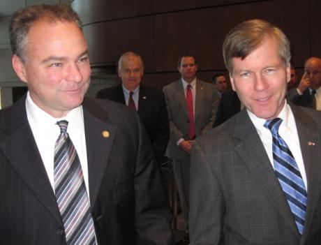 Governor Tim Kaine and governor-elect Bob McDonnell at the Fairfax County Government Center for the announcement that 415 high paying, biotech jobs are coming to Fairfax.