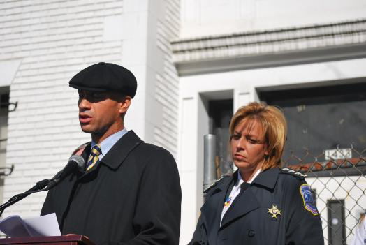 D.C. Mayor Adrian Fenty and Police Chief Cathy Lanier announcing the arrest of a suspect in the shooting of 9-year-old Oscar Fuentes.