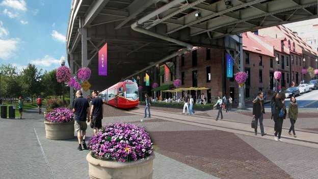 A rendering of what K Street in Georgetown could look like with a streetcar.