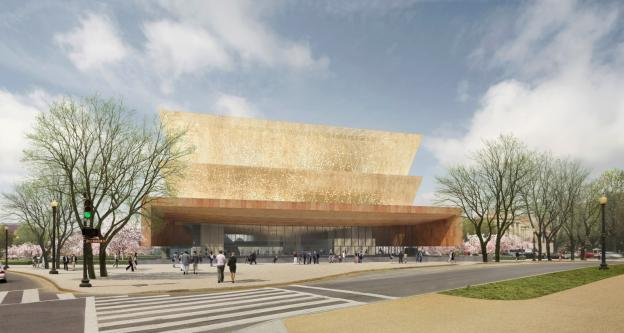 The image above shows how the exterior of the upcoming Museum of African-American History and Culture will look.
