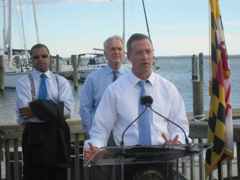 Maryland governor Martin O'Malley makes his announcement about oyster restoration on the Chesapeake Bay.