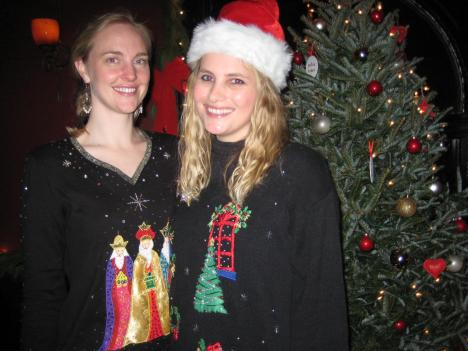 Michele Backus and Ashley Taylor, organizers of the Ugly Christmas Sweater Party for Once Upon a Prom.