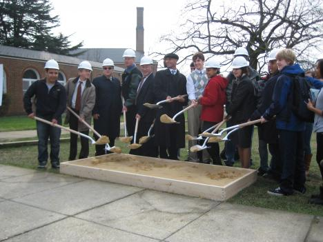 City officials and students at the Wilson High School ceremonial groundbreaking.