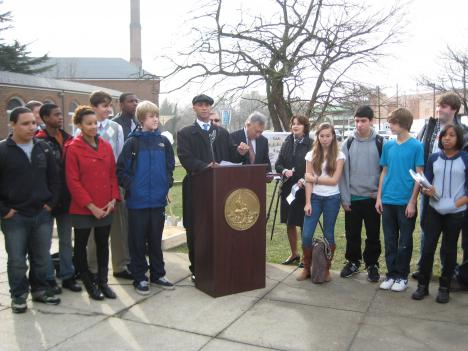 City officials and Wilson High School students launched a renovation yesterday that will leave the school with a new visual and performing arts center, new gyms and a large skylight over what is now affectionately called the prison yard.