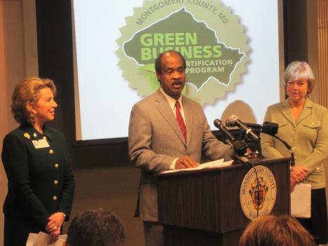 From right to left: Gigi Godwin, president of the county chamber of commerce, County Executive Isiah Leggett and county council President Nancy Floreen.