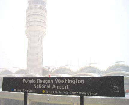 Visibility was near zero at Reagan National Airport during the snow storm.