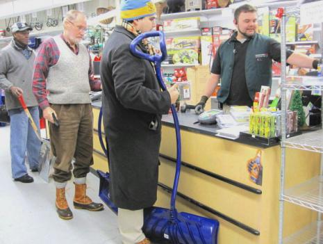 Customers standing in line on Monday morning were almost exclusively buying snow shovels.