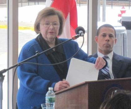 Senator Barbara Mikulski (D-Md.) speaking at the event.  Behind her is Maryland Lt. Gov. Anthony Brown.