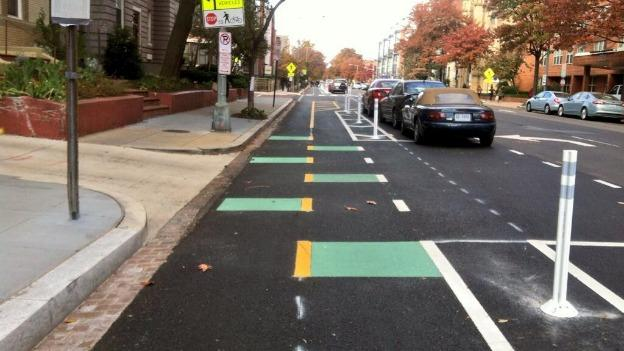 The 15th Street bike lane, freshly repaved.
