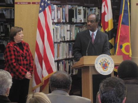 Montgomery County executive Isiah Leggett unveils his construction budget plan at Paint Branch High School in Burtonsville.
