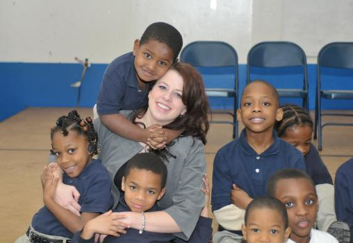 D.C. Teacher Of The Year Stephanie Day with her students.