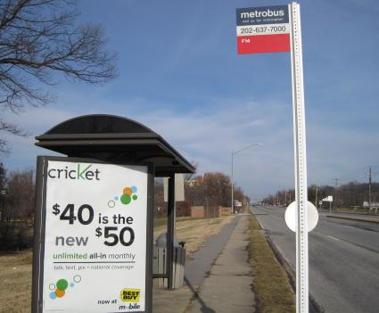This bus stop in Prince George's County, along with many others in the region, could be getting an upgrade in the coming months if the D.C. region wins a $15 million grant from the Federal Transit Administration.