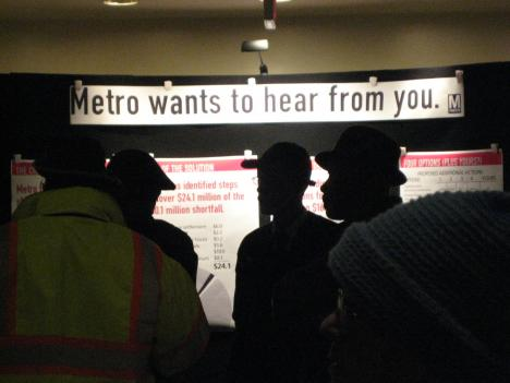 Hundreds of people flocked to Metro's hearing on closing the agency's $40 million budget gap.
